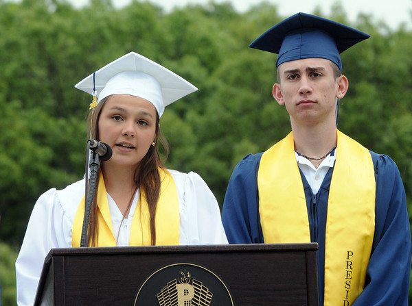 KEN YUSZKUS/Staff photo. Class of 2014 co-presidents Kathryn Gallo and Matthew Mogavero give the welcome during the Peabody Veterans Memorial High School graduation.   5/30/14.