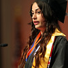 Salem State University graduate Bianca Carreiro gives her student address during Commencement on Saturday afternoon. DAVID LE/Staff photo. 5/18/14.