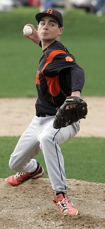KEN YUSZKUS/Staff photo. Beverly's pitcher Dave Drinwater on the pitcher's mound during the Peabody at Beverly baseball game for the Northeastern Conference North title.      5/19/14