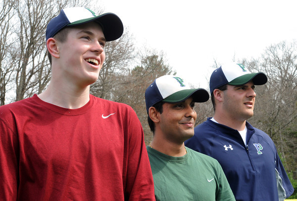 KEN YUSZKUS/Staff photo. Griffin Beal, Prakirn Upbhyay, and Kevin Moyette are Pingree pitchers who have thrown a straight no-hitter. They combined for one Monday.