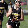 KEN YUSZKUS/Staff photo. Bishop Fenwick's Jacqueline Hart moves the ball during the Bishop Fenwick at Ipswich High girls lacrosse North Division 2 quarterfinal playoff game.  5/29/14.