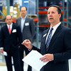 KEN YUSZKUS/Staff photo.  ThermoFisher Scientific president Jeff Jochims, right, speaks about Thermo Fisher Scientific opening a new Doe & Ingalls Northeast Chemical Distribution Facility in Peabody.  5/8/14