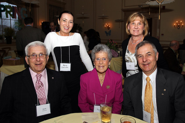 From left: David Solmine, Maria Cacciola, Mary Jane Solmine, and Chris and Jim Harris, at the Catholic Charities North annual Spring Gala on Thursday evening at the Hawthorne Hotel. DAVID LE/Staff photo. 5/1/14