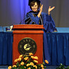 Salem State University President Patricia Maguire Meservey gives the graduating class of 2014 a round of applause during Commencement on Saturday afternoon. DAVID LE/Staff photo. 5/18/14.
