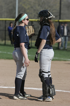 KEN YUSZKUS/Staff photo.  Swampscott's pitcher Danielle Mayblyum and catcher Olivia Cooke consult on the mound during the Danvers at Swampscott softball game.      5/7/14