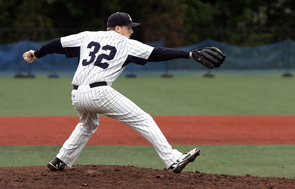 KEN YUSZKUS/Staff photo. St. John's Prep pitcher Evan Roberts on the pitcher's mound during the Lowell at St. John's Prep in the first round of the Super 8 baseball state playoffs. 5/28/14.