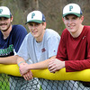 KEN YUSZKUS/Staff photo.    Jeff DePeiro, Rob Van Tuyl, and Griffin Beal are Pingree pitchers who have thrown a straight no-hitter. They combined for one Friday.