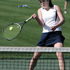 KEN YUSZKUS/Staff photo. Peabody's singles player Kayla Hodas competes during the Peabody at Danvers girls tennis match.       5/5/14