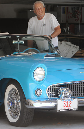 KEN YUSZKUS/Staff photo. Ron Kharibian is with his restored 1956 Thunderbird.    5/20/14