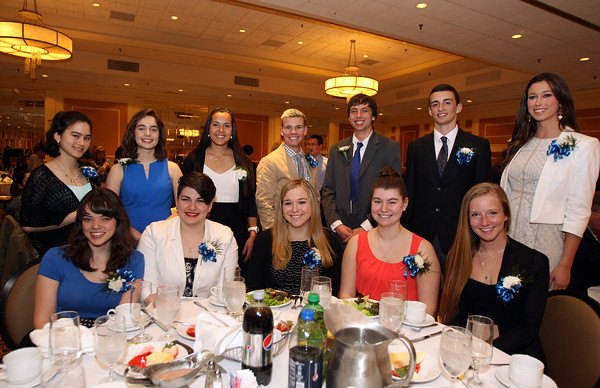 2014 Danvers Honor Scholars Sara Aguiar, Molly Birmingham, Abigail Bolduc, Carly Branconnier, Andrew Curtin, Ryan Heber, Thomas Higgins, Stephanie Kowalski, Annabelle Krupcheck, Andrea Lang, Sabrina Silva and Allison Walsh at the 46th annual Honor Scholars Recognition Dinner held at the DoubleTree in Danvers and sponsored by the North Shore Chamber of Commerce. DAVID LE/Staff photo. 5/13/14.