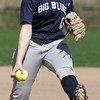 KEN YUSZKUS/Staff photo.  Swampscott's pitcher Danielle Mayblyum lets one fly during the Danvers at Swampscott softball game.      5/7/14