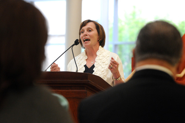 KEN YUSZKUS/Staff photo.  Salem State University President Patricia Maguire Meservey speaks about Senator Fred Berry during the Frederick E. Berry Library and Learning Commons Dedication Ceremony at Salem State University.  5/28/14.
