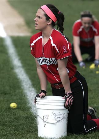 KEN YUSZKUS/Staff photo. Marblehead's McKenzie Joyce before the Salem at Marblehead softball game.    5/4/15