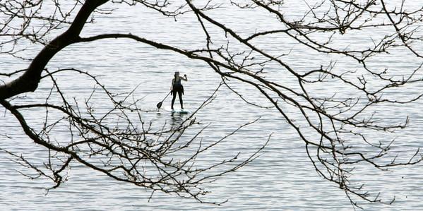 KEN YUSZKUS/Staff photo.  Dani Shirtcliff paddle boards on calm Salem Harbor Wednesday morning.    5/6/15
