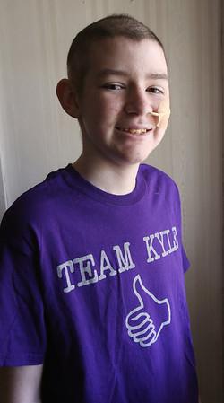 KEN YUSZKUS/Staff photo.     Holten Richmond Seventh Grader Kyle O'Grady battles a rare form of childhood brain cancer.   5/13/15
