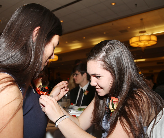 DAVID LE/Staff photo. Ipswich High School scholar honoree Lilly Kallman, right, pins a flower on the shirt of classmate Cami Devoe, at the48th annual North Shore Chamber of Commerce Honor Scholars Recognition Dinner at the DoubleTree by Hilton Hotel in Danvers. 5/10/16.