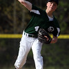 DAVID LE/Staff photo. Manchester-Essex pitcher Harry Painter throws a pitch against Ipswich on Tuesday. 5/17/16.
