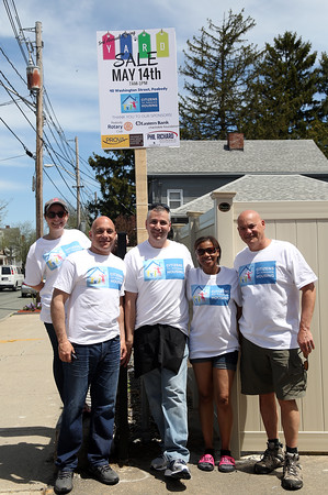 DAVID LE/Staff photo. From left, Gianna Langis, Communications and Development Associate for Citizens for Adequate Housing, volunteer Jeff Gallo, Bill Highgas, Director of Community Relations for Citzens for Adequate Housing, volunteer Ericka Evans, and Phil Richard, of Phil Richard Insurance, at the 3rd annual yard sale for Citizens for Adequate Housing on Saturday morning. 5/14/16.