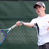 DAVID LE/Staff photo. Beverly senior Dylan LeBlanc garnered a win at 2nd singles to help the Panthers defeat Marblehead 3-2 on Thursday afternoon in a match to determine the NEC champions. 5/26/16.