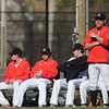 PAUL BILODEAU/Staff photo. Marblehead Baseball Coach Jason Tarasuik watches as Peabody scores several runs during Magicians' game against the Tanners at Seaside Park in Marblehead.