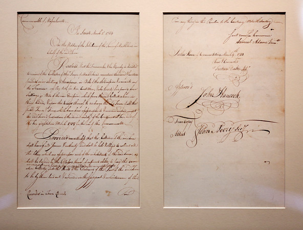 KEN YUSZKUS/Staff photo.    A letter signed by Samuel Adams and John Hancock on March 4, 1784.      05/27/16