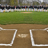 The 11 and 12 year old Beverly players, for which this is their last year of Little League play, line up along the infield for opening day cermeonies. <br /> <br /> Photo by joebrownphotos.com