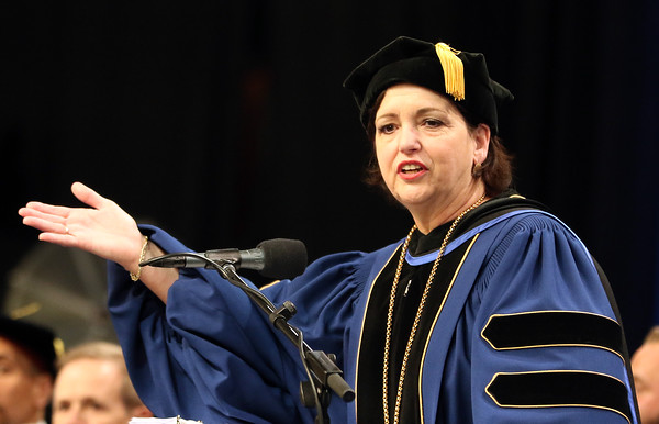 DAVID LE/Staff photo. North Shore Community College President Dr. Patricia Gentile offers her opening remarks to the class of 2016. 5/26/16.