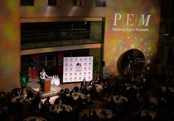 PAUL BILODEAU/Staff photo.  Salem Chamber President Jason Consalvo introduces the speakers during the annual Salem Chamber of Commerce's Celebrate Salem Awards Dinner held at the Peabody Essex Museum in Salem.
