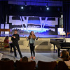 "RYAN HUTTON/Staff photo<br /> From left, Briscoe Middle School students Connor Hathaway and Liliana Bauman rehearse ""Lucy Dollar, Private Eye: The Musical"" on Tuesday afternoon."