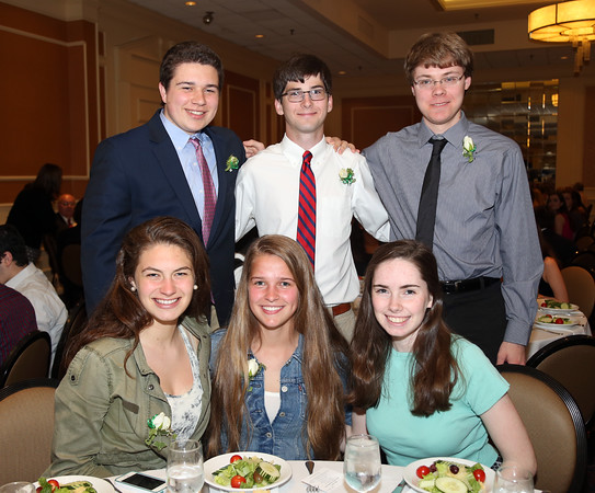DAVID LE/Staff photo. The 2016 Manchester-Essex Regional High School Top Scholars being honored include, Jenny Cochand, Zachary Even, Kelly Finnerty, Charlotte Freed, Ben Wolsieffer, and Jarrod Young, at the48th annual North Shore Chamber of Commerce Honor Scholars Recognition Dinner at the DoubleTree by Hilton Hotel in Danvers. 5/10/16.