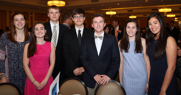 DAVID LE/Staff photo. The 2016 Ipswich High School Top Scholars being honored include, Lilly Kallman, Stephen Blake, Meaghan Cullen, Camille Devoe, Dylan Forrester, Benjamin Hogan, and Alison Nunziato, at the48th annual North Shore Chamber of Commerce Honor Scholars Recognition Dinner at the DoubleTree by Hilton Hotel in Danvers. 5/10/16.