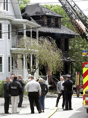 KEN YUSZKUS/Staff photo.      The scene of the fatal fire at 9 Highland Terrace in Beverly.    05/19/16