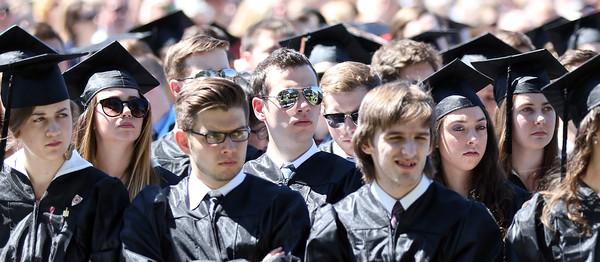 DAVID LE/Staff photo. Gordon College graduates listen to President Michael Lindsay speak at Commencement on Saturday morning. 5/14/16.