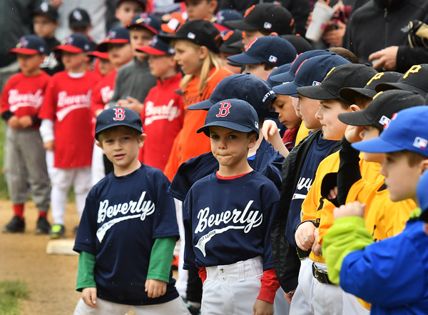 Just about every color of the rainbow is represented in the Beverly LL shirts as they gather at Harry Ball Field for opening day of the 2016 season.<br /> <br /> Photo by joebrownphotos.com