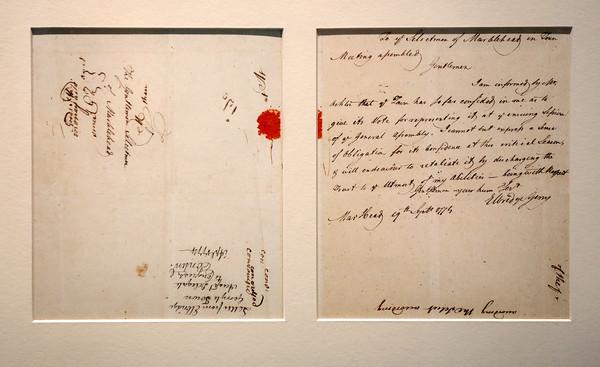 KEN YUSZKUS/Staff photo.    A letter signed by Elbridge Gerry on September 19, 1774.      05/27/16
