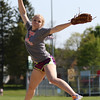 DAVID LE/Staff photo. Ipswich freshman pitcher Katherine Noftall fires a pitch at practice. Noftall has helped pitch the Tigers to a 6-4 start in 2016 after Ipswich had finished with one win the previous two season. 5/12/16.