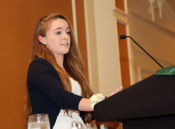 DAVID LE/Staff photo. Clark School senior and honoree Alyson Reid, delivers a student address at the 48th annual North Shore Chamber of Commerce Honor Scholars Recognition Dinner at the DoubleTree by Hilton Hotel in Danvers. 5/10/16.