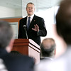 KEN YUSZKUS/Staff photo.     Gov. Charlie Baker speaks to the North Shore Alliance for Economic Development at Salem State University Tuesday morning.     05/17/16