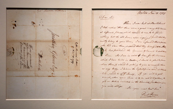 KEN YUSZKUS/Staff photo.    A letter signed by Paul Revere on November 5, 1787.      05/27/16