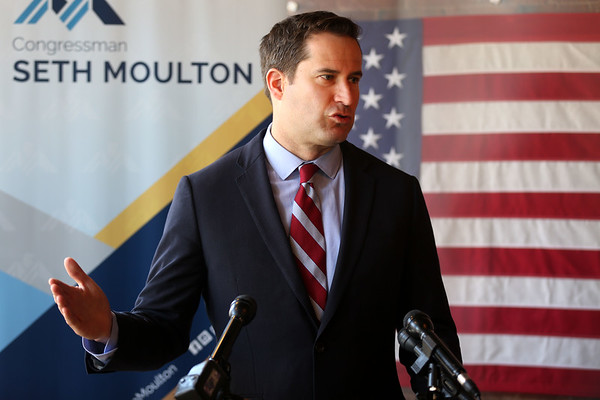 HADLEY GREEN/ Staff photo<br /> Congressman Seth Moulton held a press conference to talk about President Donald Trump's firing of FBI Director James Comey. 5/10/17