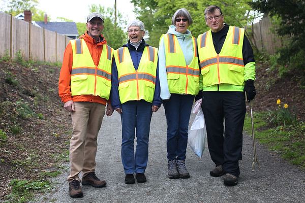 HADLEY GREEN/ Staff photo<br /> From left, Paul McNulty, chairman of the Danvers rail trail advisory committee, stands with rail trail volunteers, Lori DuPont, Nancy McNulty, and Bob Brown. 5/12/17