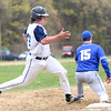 HADLEY GREEN/ Staff photo<br /> Peabody's Eric DeMayo (44) makes it safely to first base at the Peabody v. Braintree boys varsity baseball game at Peabody Veterans Memorial High School. 5/13/17