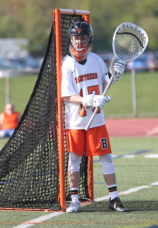 HADLEY GREEN/ Staff photo<br /> Beverly goalie Kevin Morency (17) guards the net during the Beverly v. Hamilton-Wenham boys varsity lacrosse game at Beverly High School. 5/16/17