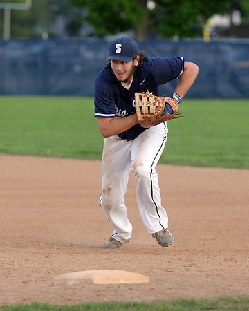 RYAN HUTTON/ Staff photo<br /> Swampscott's AJ Venuti speeds to first to make the out after fielding the ball in the bottom of the fifth inning of Wednesday's game at Danvers.