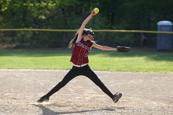 HADLEY GREEN/ Staff photo<br /> Gloucester pitcher Sydney McKay (8) winds up at the Peabody v. Gloucester girls softball game at the Kiley School field in Peabody. 5/17/17