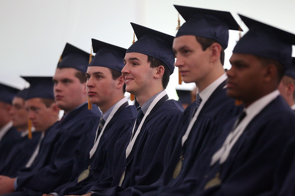 HADLEY GREEN/ Staff photo<br /> Students listen to Susan Bravo give her commencement address at the St. John's Prep graduation ceremony. 5/21/17
