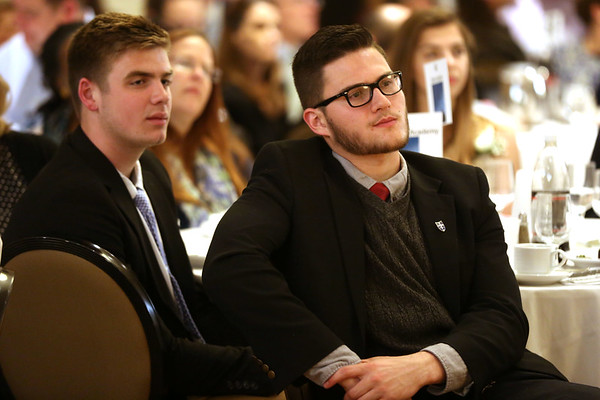 HADLEY GREEN/ Staff photo<br /> Peter Grifoni and Michael Gergely of Covenant Christian Academy listen to Salem State President  Patricia Meservey speak at the 49th Annual Honor Scholars Recognition Dinner held at the Doubletree Hotel in Danvers. 5/9/17