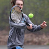 HADLEY GREEN/ Staff photo<br /> Thor Messer hits the ball during doubles play at the Hamilton-Wenham v. Ipswich boys varsity tennis match at Pingree park in Wenham. 5/11/17