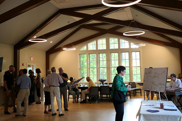 HADLEY GREEN/ Staff photo<br /> People stand in the newly renovated Carolyn Holland Hall at the First Church in Wenham. The church held an open house to celebrate their new spaces on Wednesday evening. 5/17/17