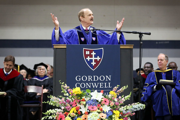 HADLEY GREEN/ Staff photo<br /> Dennis Hollinger, president of Gordon-Conwell Theological Seminary, welcomes graduates and guests at the graduation ceremony. 5/13/17